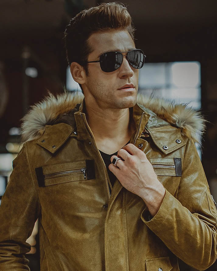 Hooded Leather Jacket - Elias [Tan] - Alexandre León