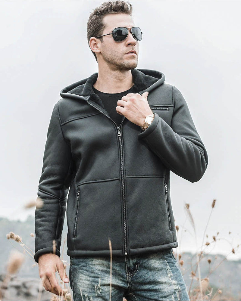 Hooded Leather Jacket - Maurizio [Black] - Alexandre León