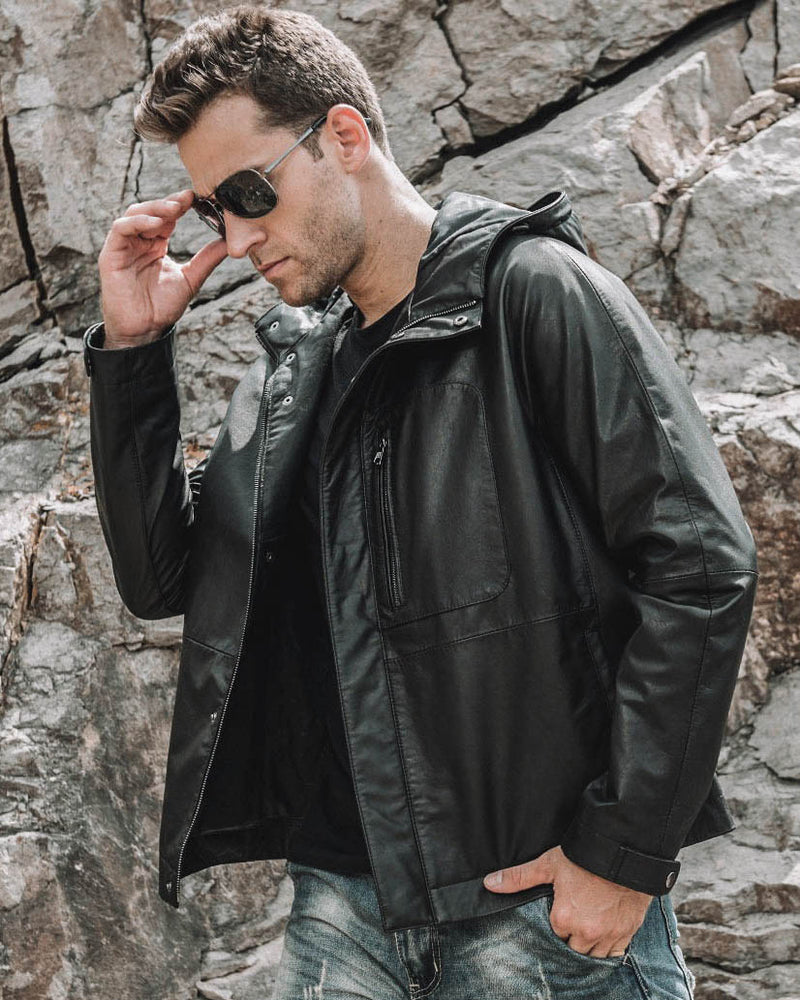 Hooded Leather Jacket - Nero [Black] - Alexandre León