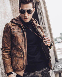 Hooded Leather Jacket - Norberto [Brown] - Alexandre León