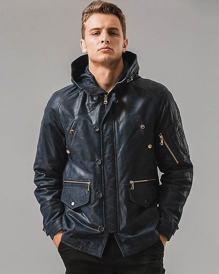mens-Hooded Leather Jacket - Patricio [Blue] - Alexandre León