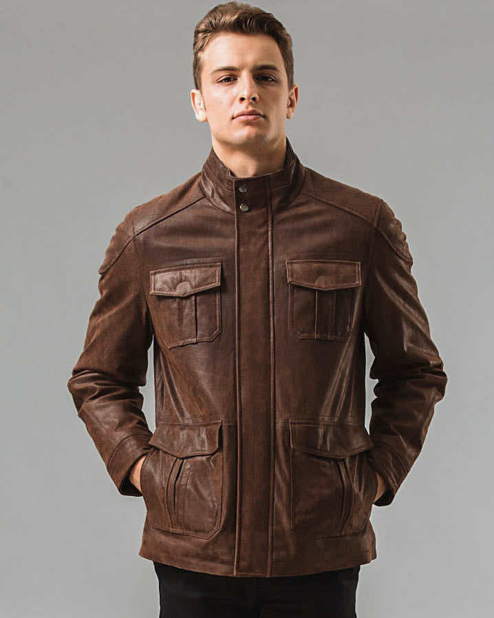 mens-Leather Field Jacket - Matias [Coffee Brown] - Alexandre León