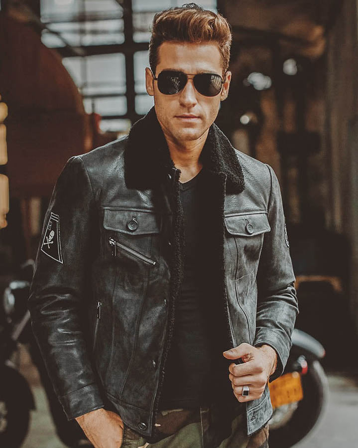 mens-Leather Flight Jacket - Christopher [Black] - Alexandre León