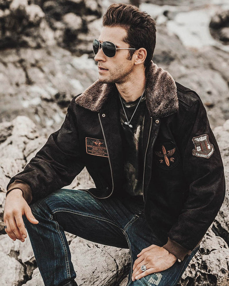 Leather Flight Jacket - Dario [Coffee Brown] - Alexandre León
