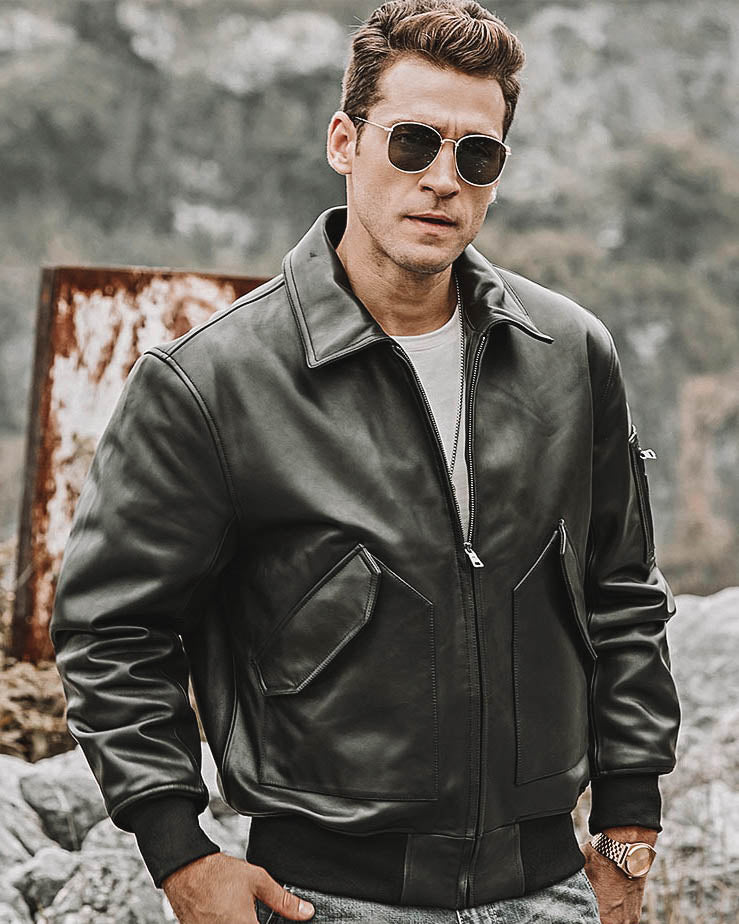 mens-Leather Flight Jacket - Diego [Black] - Alexandre León