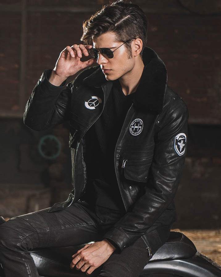 mens-Leather Flight Jacket - Ignacio [Black] - Alexandre León