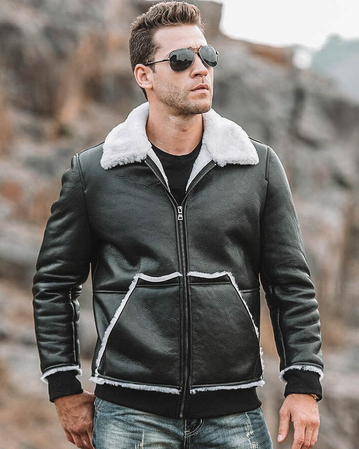 mens-Leather Flight Jacket - Joaquín [Black] - Alexandre León