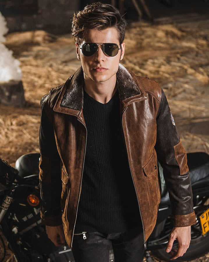 mens-Leather Flight Jacket - Miguel [Brown] - Alexandre León