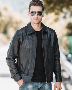 mens-Leather Jacket - Enzo [Black] - Alexandre León