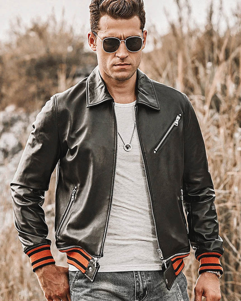 mens-Leather Jacket - Filipo [Black] - Alexandre León