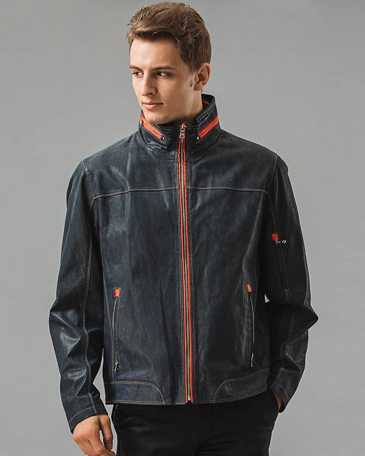 Leather Jacket - Paolo [Blue] - Alexandre León