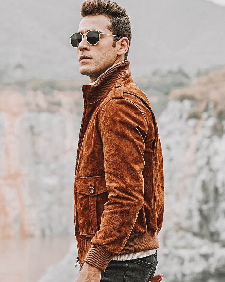 mens-Leather Jacket - Stefano [Brown] - Alexandre León