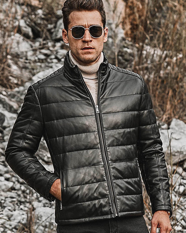 mens-Puffer Leather Jacket - Alessandro [Black] - Alexandre León
