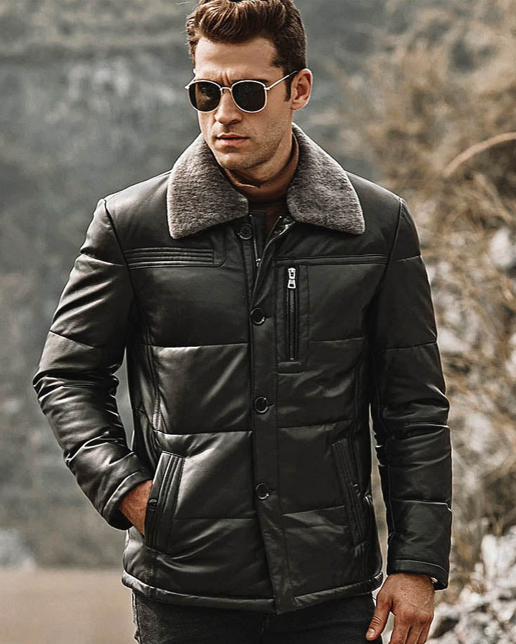 Puffer Leather Jacket - Facundo [Black] - Alexandre León