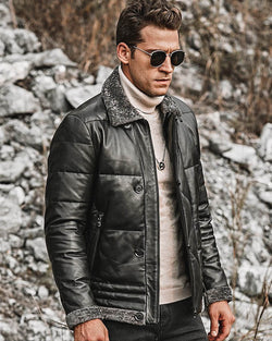 mens-Puffer Leather Jacket - Franco [Black] - Alexandre León