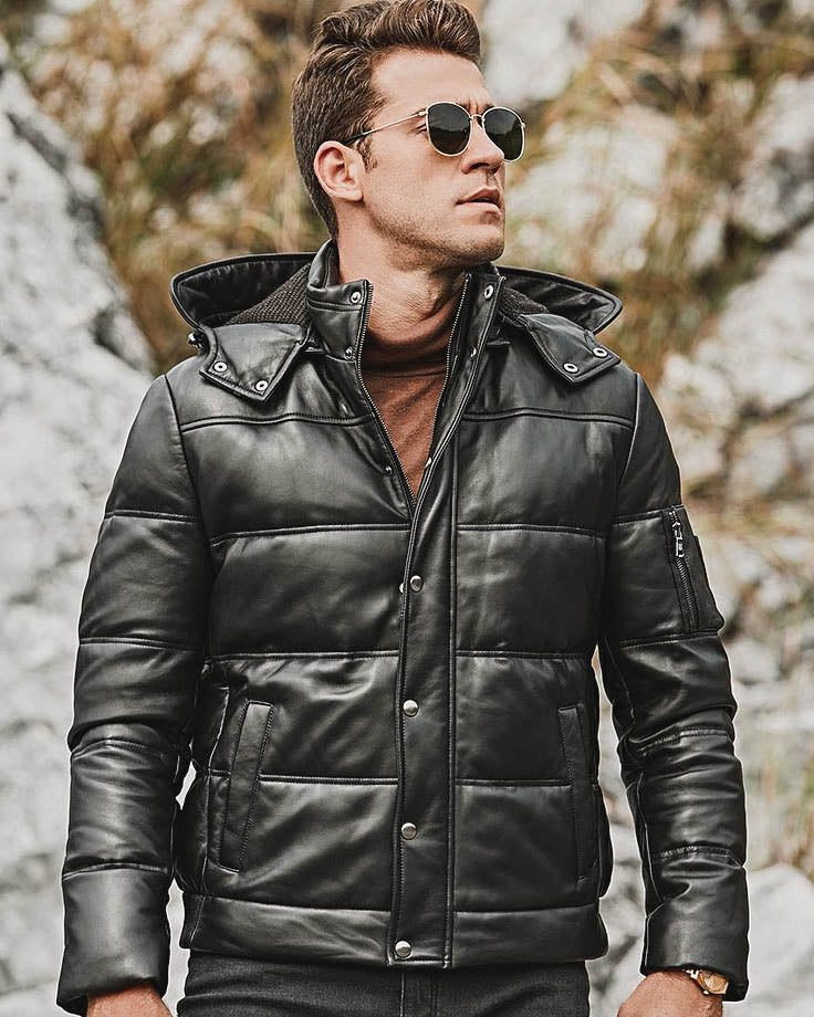 Puffer Leather Jacket - Piero [Black] - Alexandre León