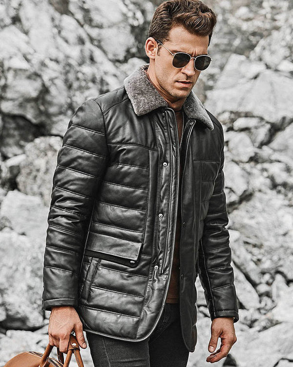 mens-Puffer Leather Jacket - Vitorio [Black] - Alexandre León