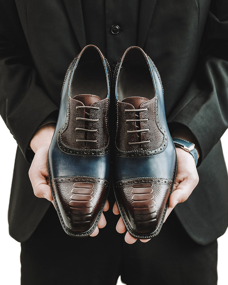 mens-Leather Oxford Shoes - Carl - Alexandre León | spectator-blue