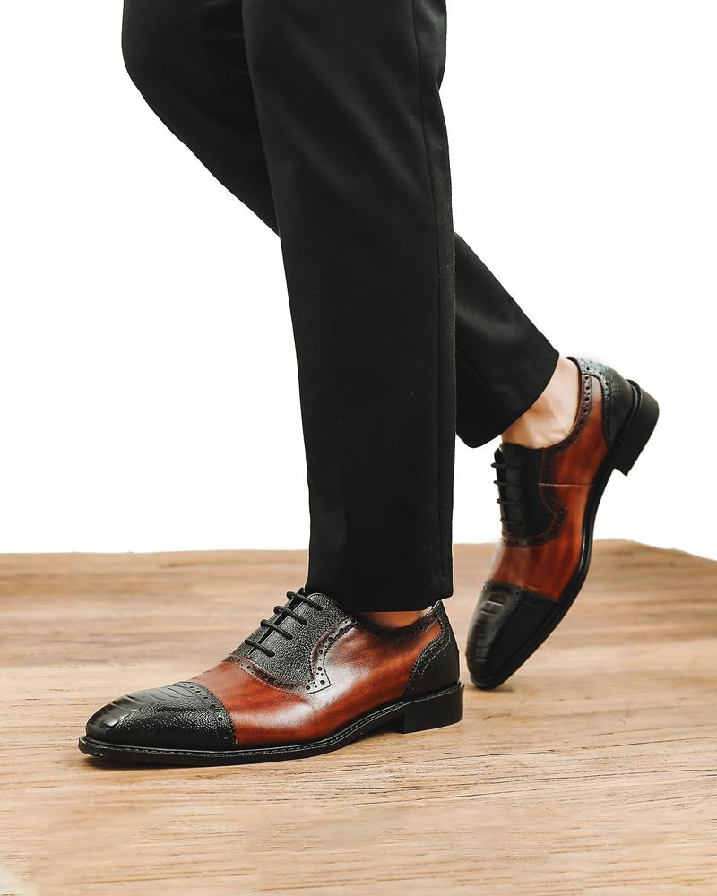 mens-Leather Oxford Shoes - Carl - Alexandre León | spectator-brown