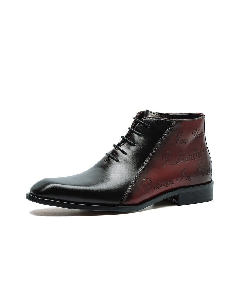 Leather High Ankle Oxford Shoes - Eugene [Black]