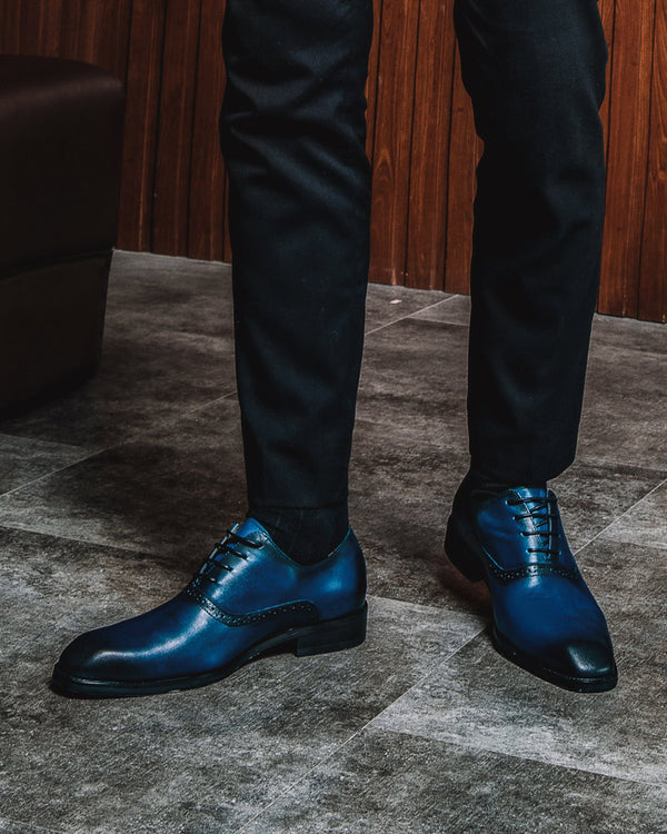 Leather Oxford Shoes - Gary [Blue]