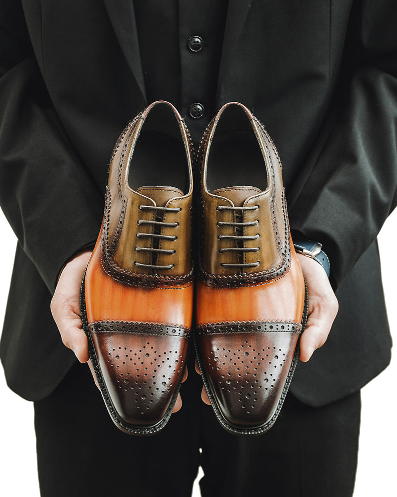 Leather Oxford Shoes - Harold [Spectator Brown]