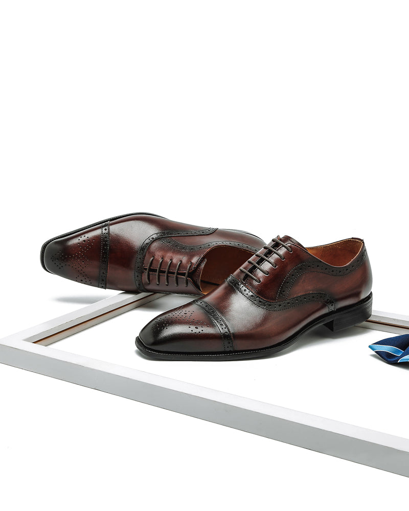 Leather Oxford Shoes - Keith [Coffee Brown]