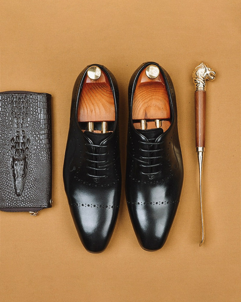 mens-Leather Oxford Shoes - Nicholas - Alexandre León | black
