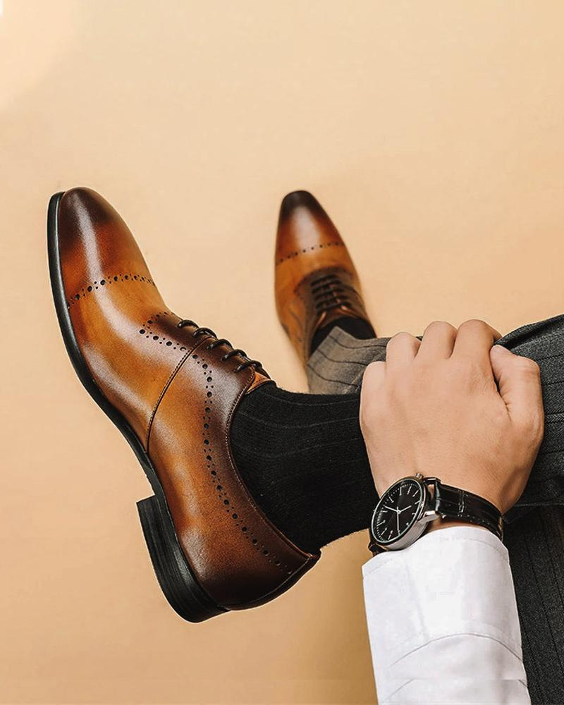 mens-Leather Oxford Shoes - Nicholas - Alexandre León | brown