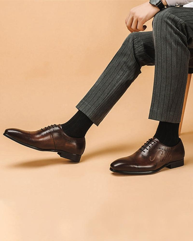 mens-Leather Oxford Shoes - Nicholas - Alexandre León | coffee-brown
