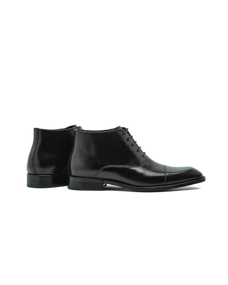 mens-Leather Oxford High Ankle Shoes - Randy - Alexandre León | black
