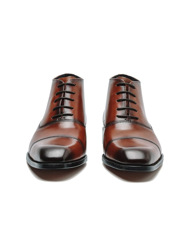 mens-Leather Oxford High Ankle Shoes - Randy - Alexandre León | dark-brown