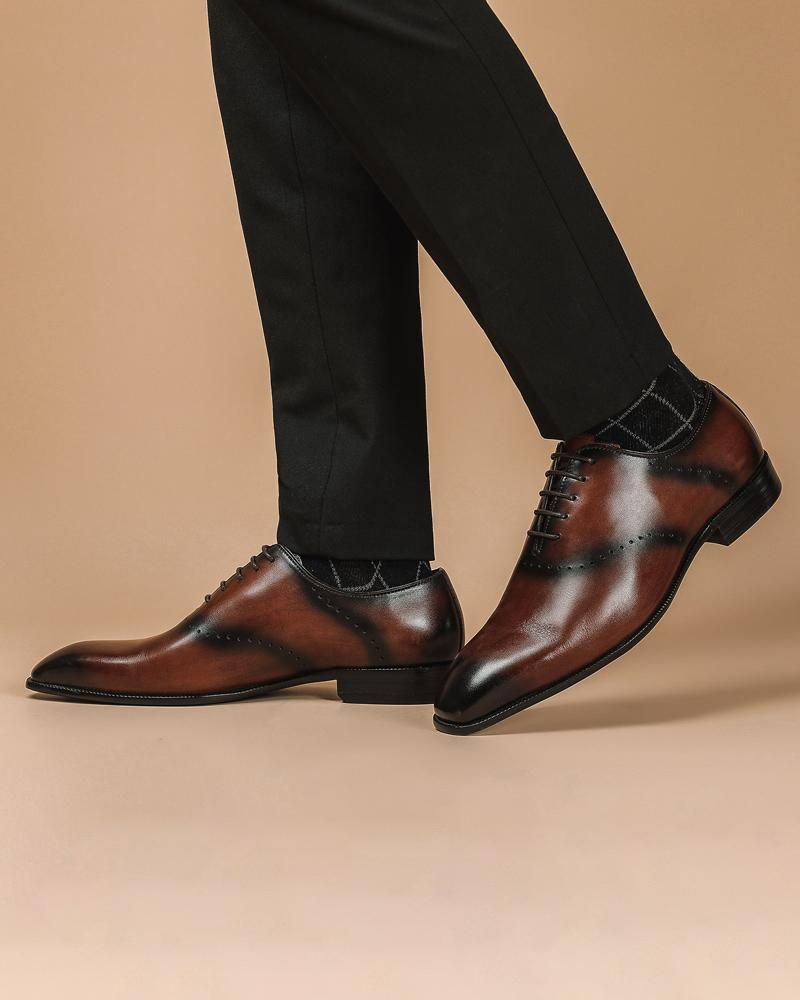 mens-Leather Oxford Shoes - Roger - Alexandre León | coffee-brown