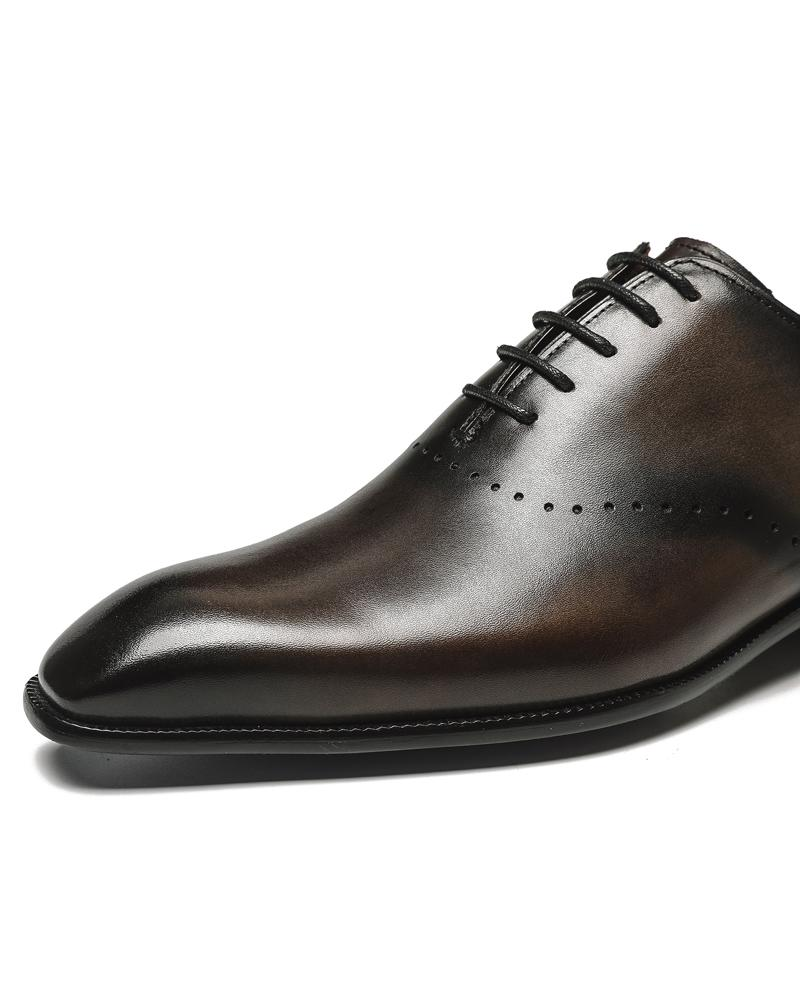 mens-Leather Oxford Shoes - Roger - Alexandre León | dark-coffee-brown