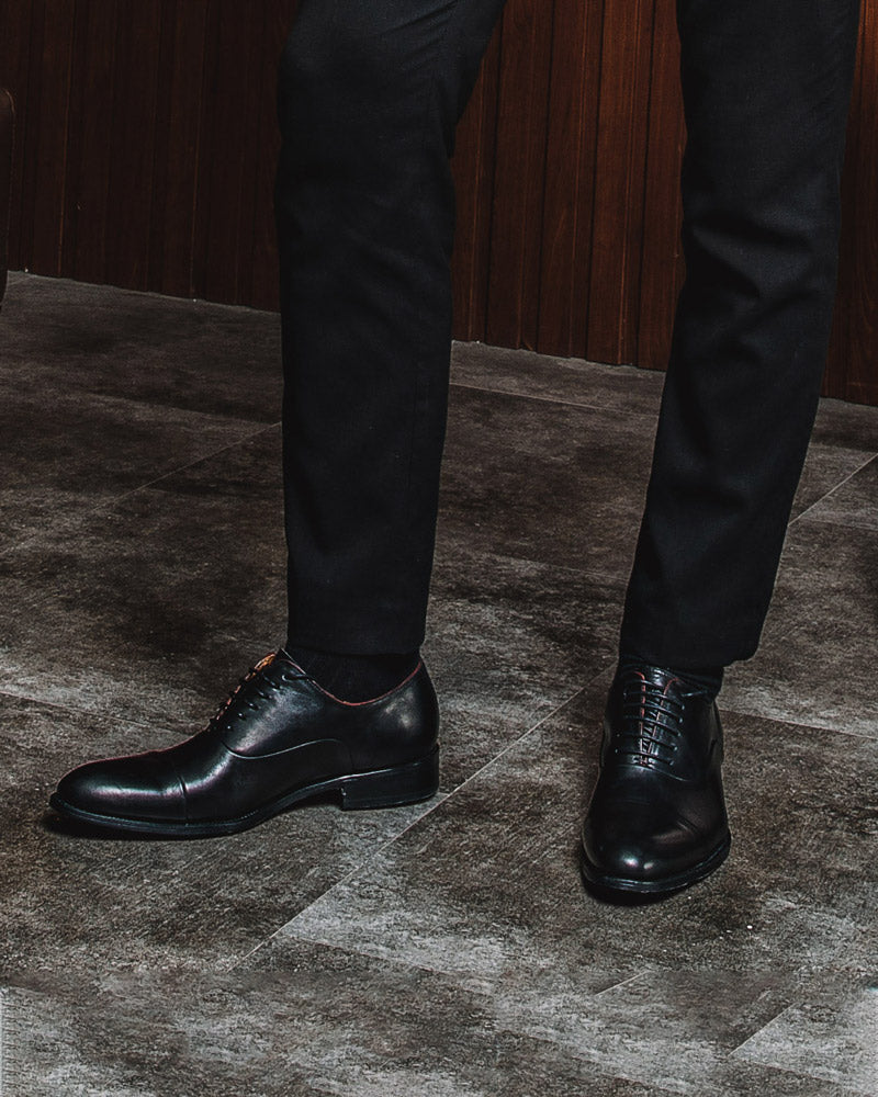 mens-Leather Oxford Shoes - Ryan [Black] - Alexandre León