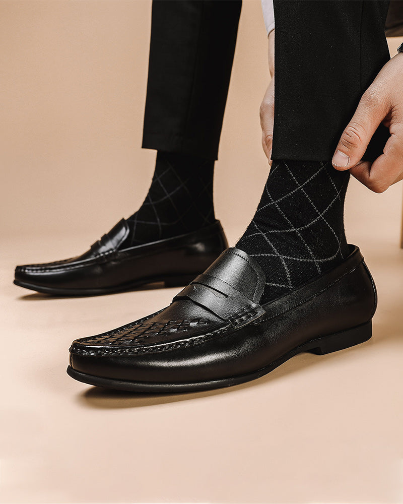 Leather Penny Loafer Shoes - Mark [Black]