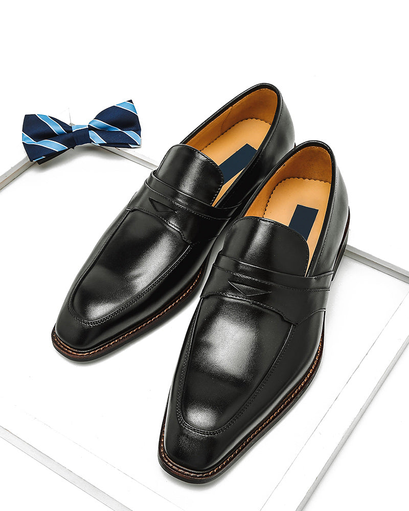 Leather Penny Loafer Shoes - Paul [Black]