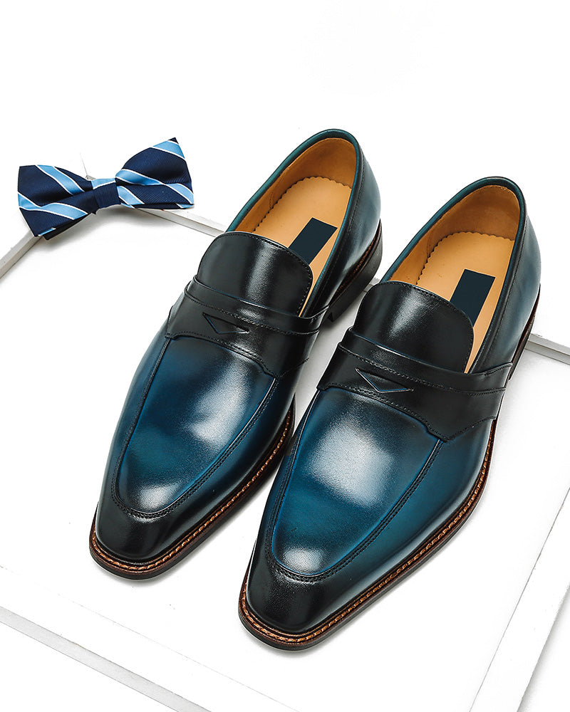 Leather Penny Loafer Shoes - Paul [Blue]