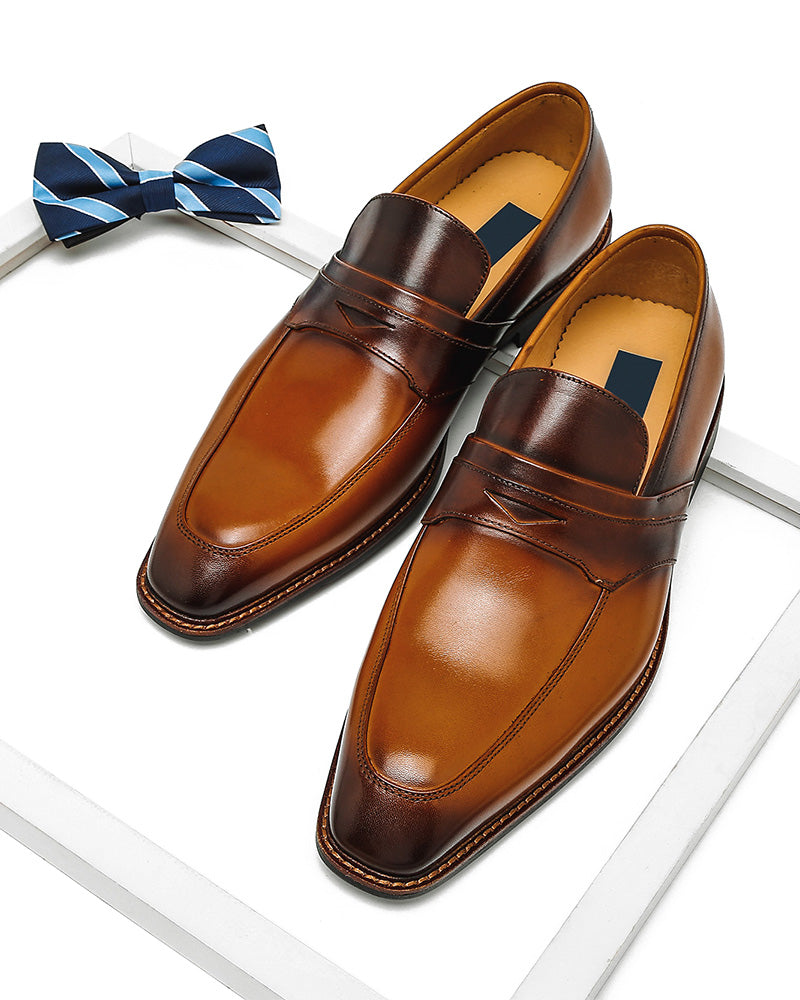Leather Penny Loafer Shoes - Paul [Brown]