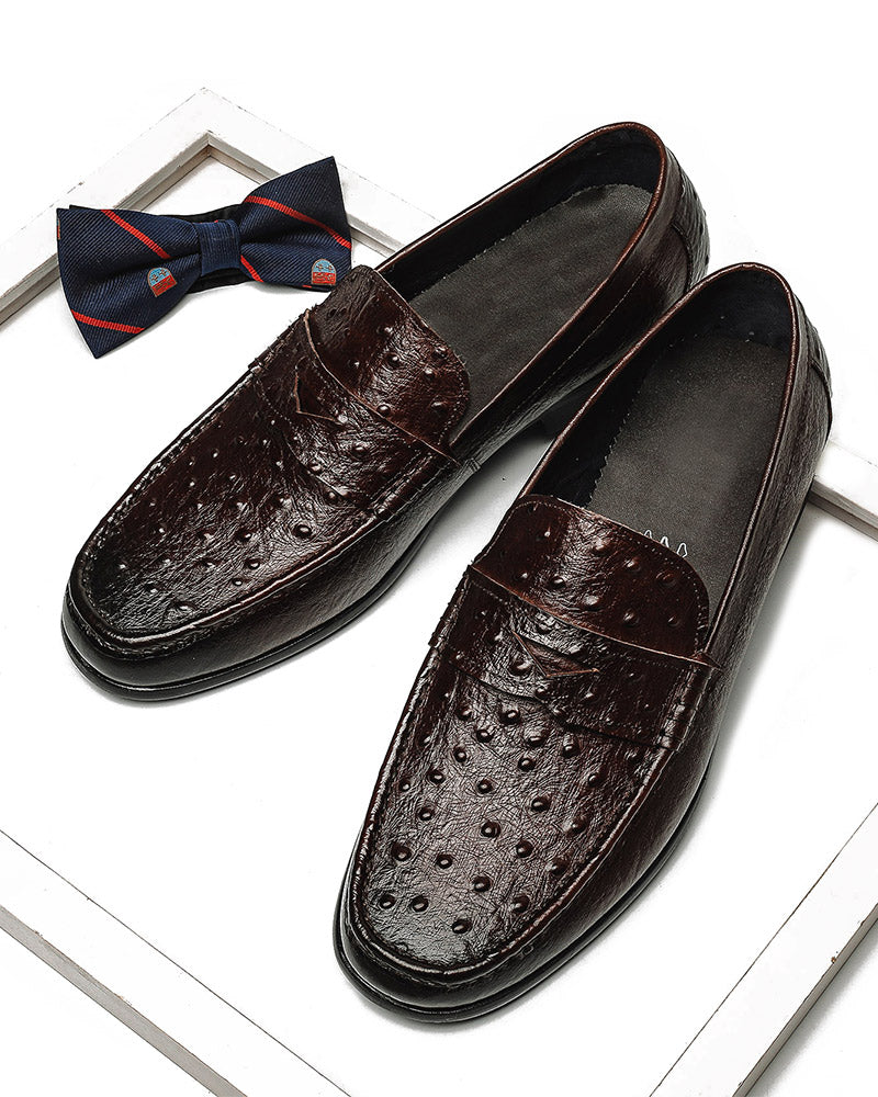 Leather Penny Loafer Shoes - Steven [Coffee Brown]