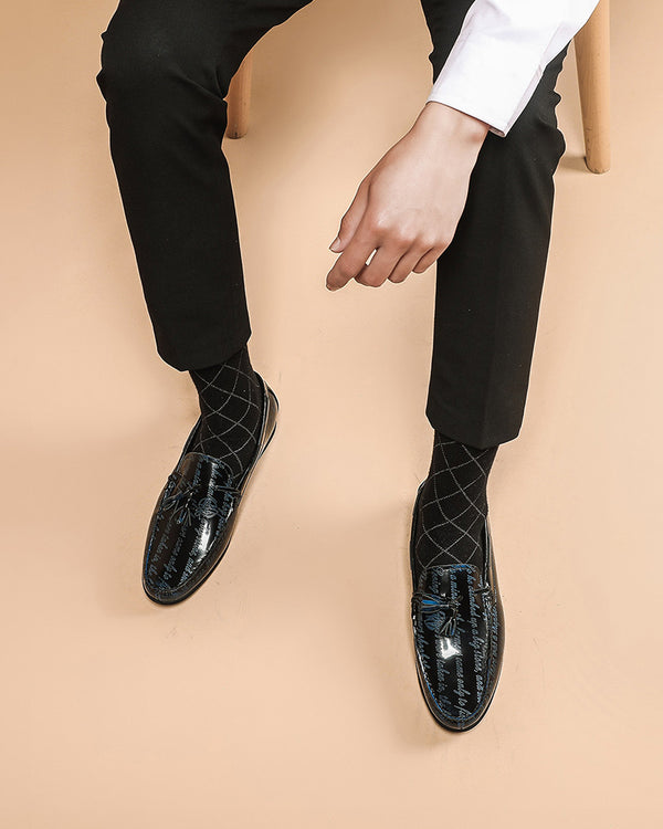 mens-Leather Tassel Loafer Shoes - Andrew - Alexandre León | black