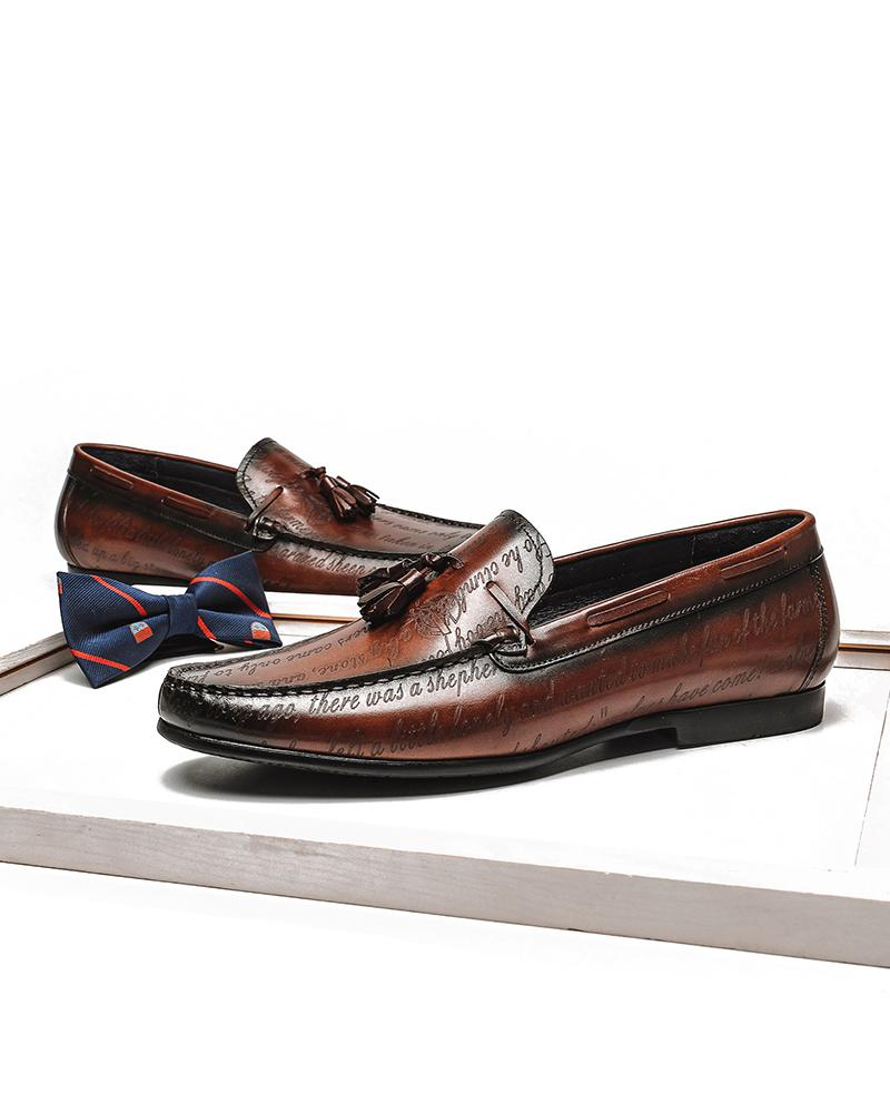 mens-Leather Tassel Loafer Shoes - Andrew - Alexandre León | coffee-brown