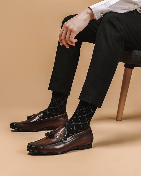 Leather Tassel Loafer Shoes - Andrew [Coffee Brown]