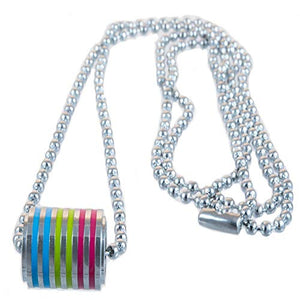 Pansexual Cylinder 316L Stainless Steel Pendant with Ball Chain Necklace