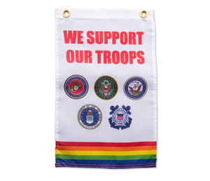 Rainbow We Support Our Troops Military Garden Flag