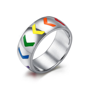 Rainbow Arrow Design Stainless Steel Ring