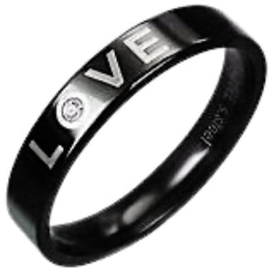 Black Love Stainless Steel Ring with CZ Stone
