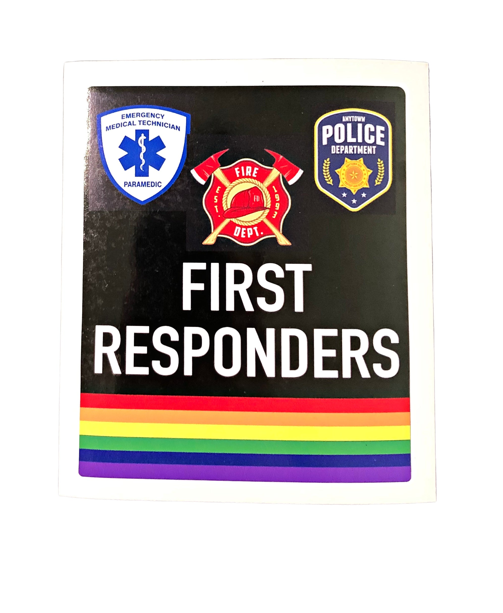 First Responders Rainbow Bumper Sticker