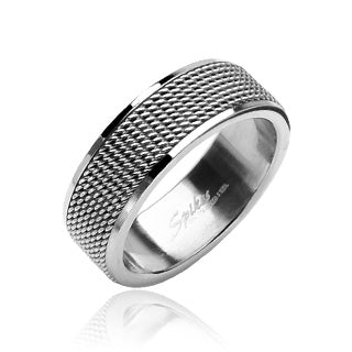 Mesh Screen Design 316L Stainless Steel Comfort Fit Ring