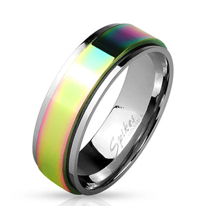 Rainbow Stainless Steel Spinner Comfort Fit band Ring